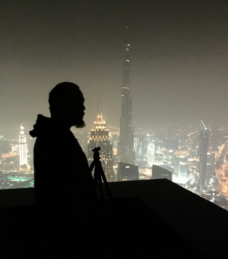 Setting up a panoramic shoot - 85 stories up in Dubai, UAE