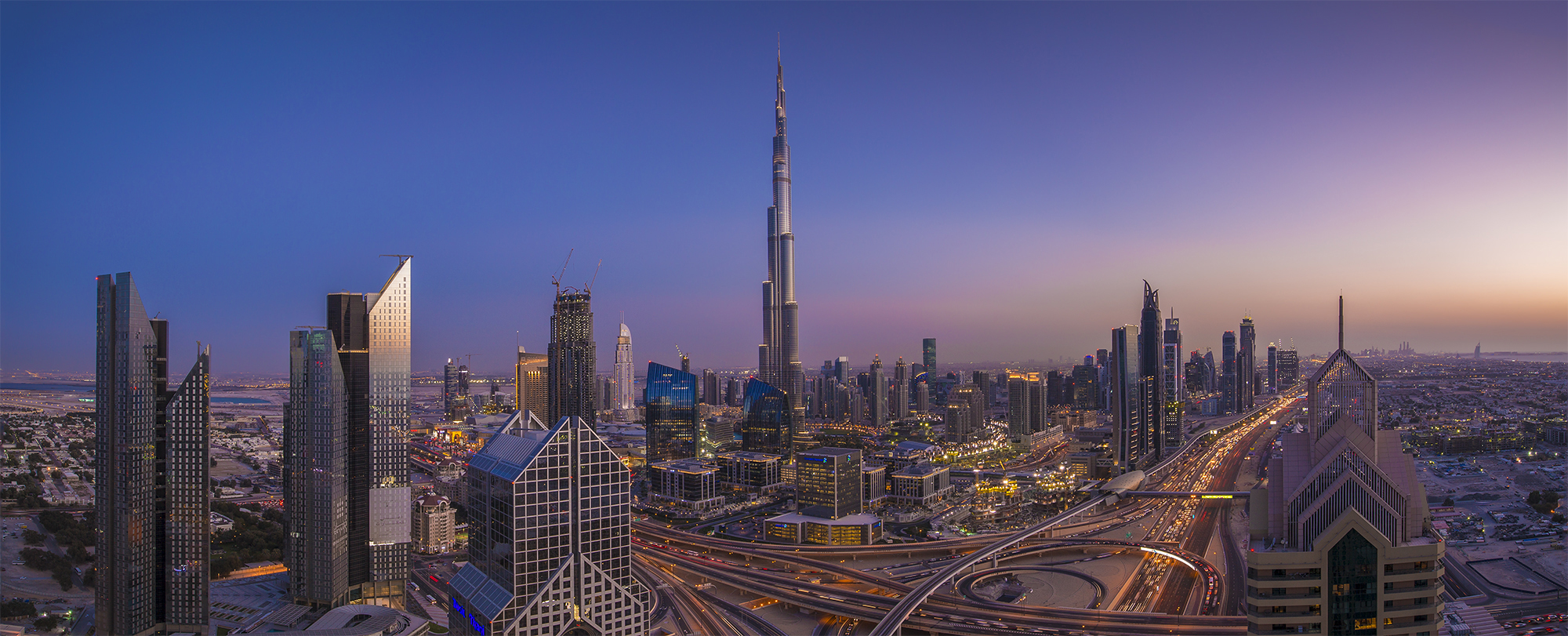 Panoramic: Burj Khalifa at Dusk